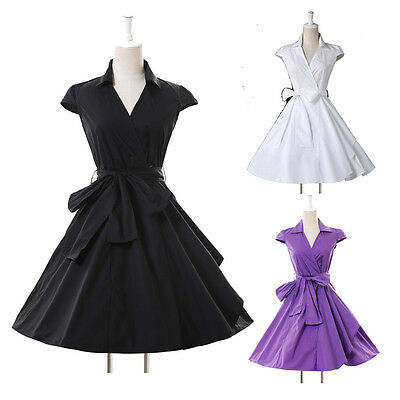 ON SALE~Lapel Style Vintage 1950s Swing Pin Up Evening Jive Tea Dress