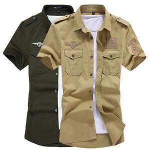 Мужская короткий рукав твердого повседневное узкое платье рубашки армии зеленый/хаки ZD118