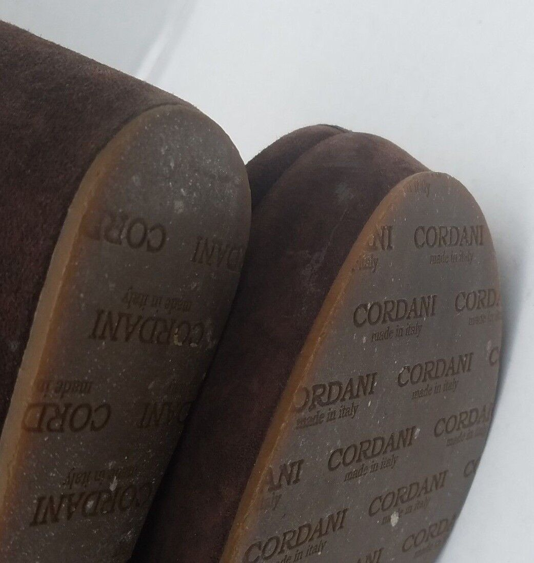 Cordani Brown Suede Leather Faux Fur Lined Lined Lined Clogs Slip On  ITALY 700321