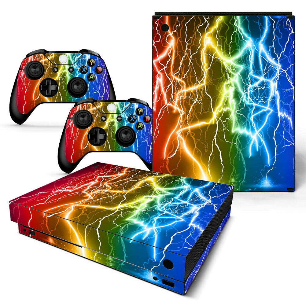 XBOX ONE X *VINYL ! **PROTECTIVE SKINS DECALS WRAP STICKERS -Gorgeous lightning