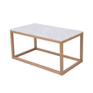 Details About Solid Oak Frame Real White Marble Effect Coffee Table