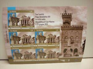 Francobolli-San-Marino-Foglietto-visita-del-Papa-Benedetto-XVI-2011-Nuovo-MNH