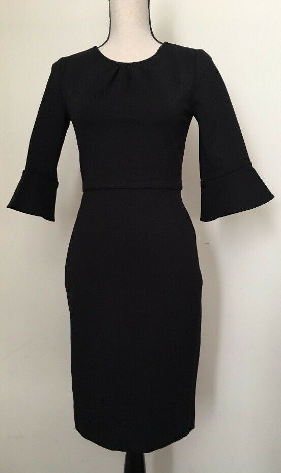 NEW JCREW  Bell-sleeve sheath in stretch ponte Größe00 In schwarz G9476