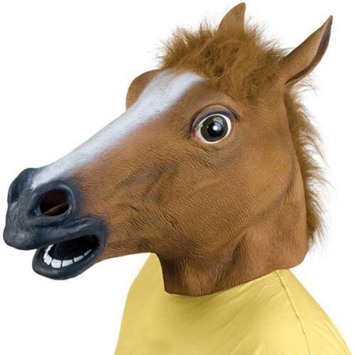 HORSE HEAD MASK RUBBER PANTO FANCY DRESS PARTY COSPLAY HALLOWEEN ADULT COSTUME