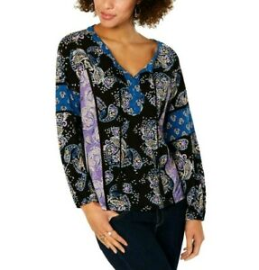 Style-amp-Co-Womens-Multi-Paisley-Split-Neck-Peasant-Top-Shirt-Size-L