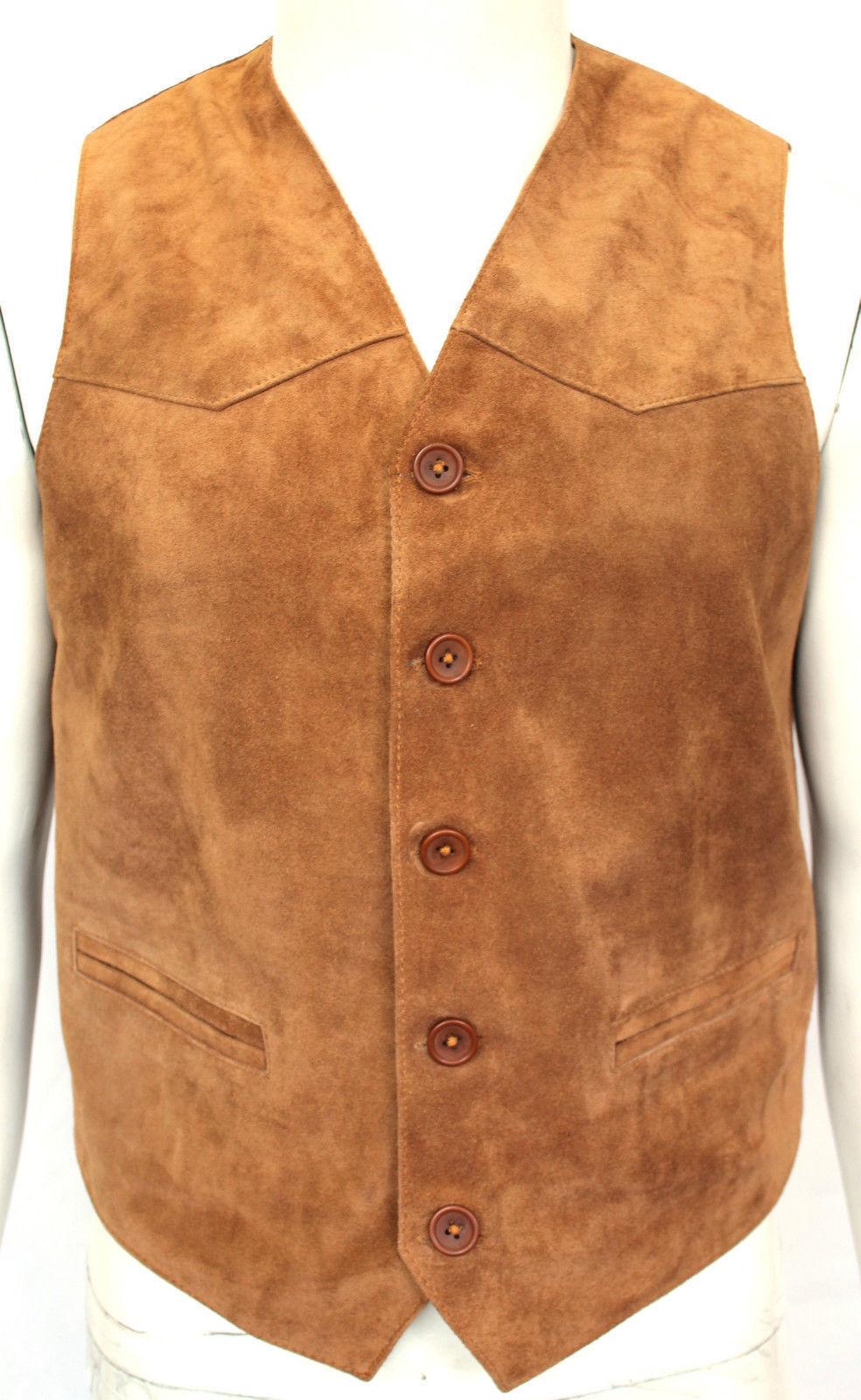 Men Western Braun/Tan Suede Leder Vest with Fringe ALL SIZE