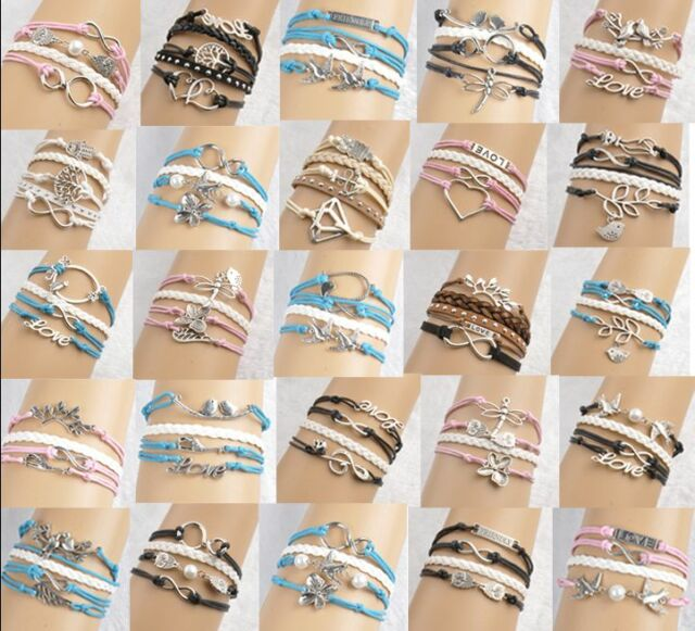 Mix Infinity Anchor Rudder leather love owl charm handmade friendship bracelet