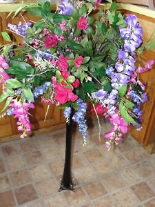 Purple wisteria fuschia pink vase silk flower bouquet ebay image is loading purple wisteria fuschia pink vase silk flower bouquet mightylinksfo
