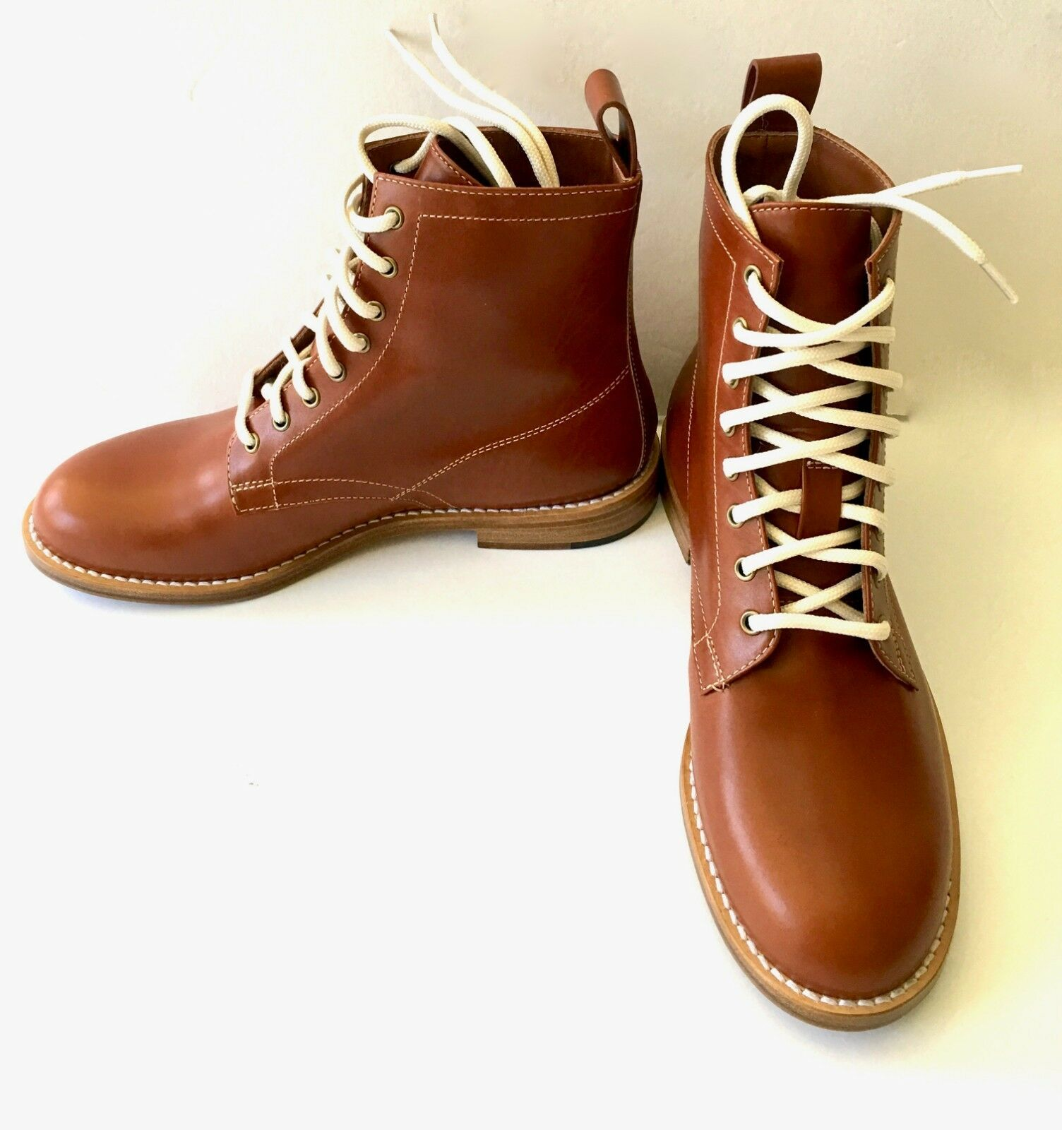 NEW  565 JENNI KAYNE LEATHER WORK BOOTS 37 7 DESIGNER BROWN LACE UP HIKING ITALY