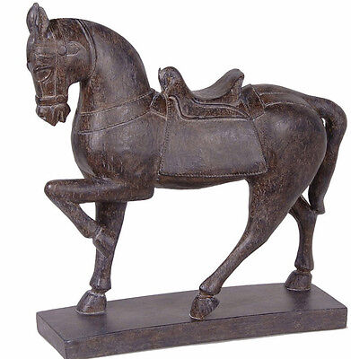 Elegant Large Distressed Tang Dynasty Black Horse Statute Ornament