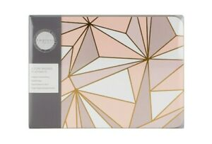 Set Of 4 Placemats 4 Matching Coasters Pink Geometric Geo Dining Home Impress Ebay