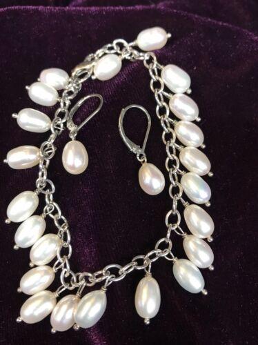 925 Freshwater Beige Teardrop/Oval Pearl Earring a
