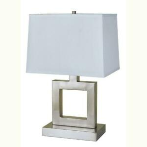 Modern-table-lamp-with-Linen-shade-and-Satin-Nickel-finish-metal-base