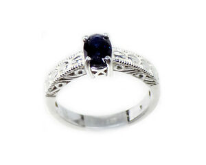 Antique-19th-Century-ct-Dark-Blue-Sapphire-in-Sterling-Silver-Ring