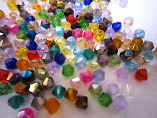 100 Austrian Crystal Glass Bicone Beads - Mixed Colour  4mm