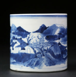 ANTIQUE-CHINESE-QING-DYNASTY-PORCELAIN-BRUSH-POT-BLUE-AND-WHITE
