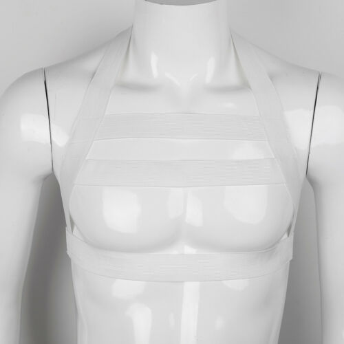 Men/'s Faux Leather Adjustable Body Armor Chest Restrain Harness Shoulder Buckles