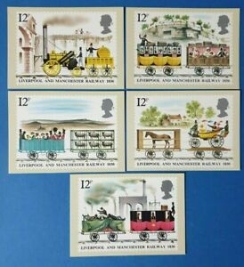 Set-of-5-PHQ-Stamp-Postcards-Set-No-42-Liverpool-amp-Manchester-Railway-1980-CE7