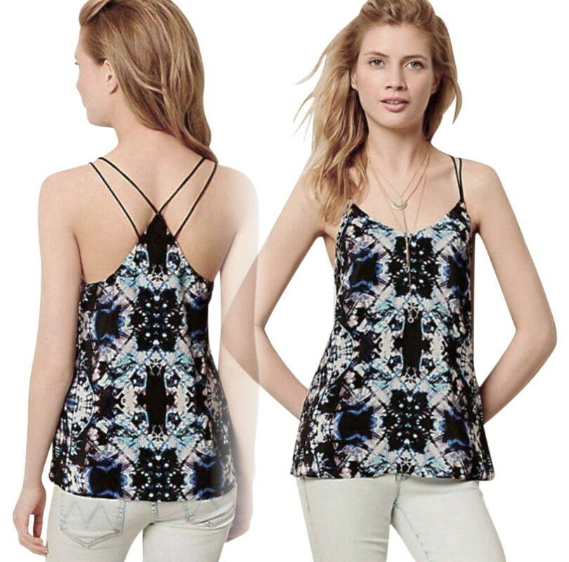 Anthropologie Strappy Back Tank Large 10 12 schwarz Motif Strappy Top Runs Wide L
