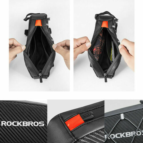 ROCKBROS Cycling Bicycle Waterproof Reflective Frame Front Top Tube Bag Black 1L