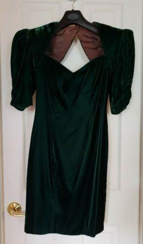 Vintage 80's Green Velvet Party Dress