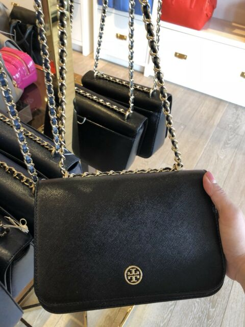 Tory Burch Robinson Patent Adjustable Chain Shoulder Bag Crossbody Black 395