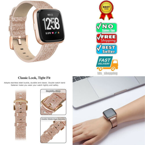 Details about Fitbit Versa Genuine Leather Replacement Band Sport Fitness  Wristband ROSE GOLD
