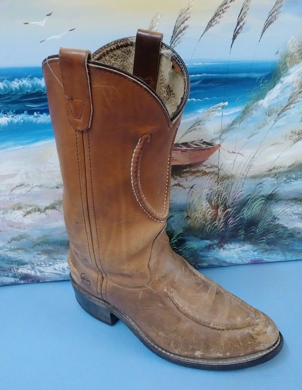 Double H 1608 Mens Size 8.5D Boots Moc Stitch Work Western