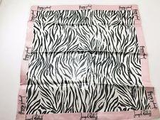 "Joseph Ribkoff Black & White Zebra Print with Pink Borders Silk Scarf 21"" NEW"