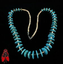 Beautiful Native American howlite disc bead shell heishi necklace jewelry
