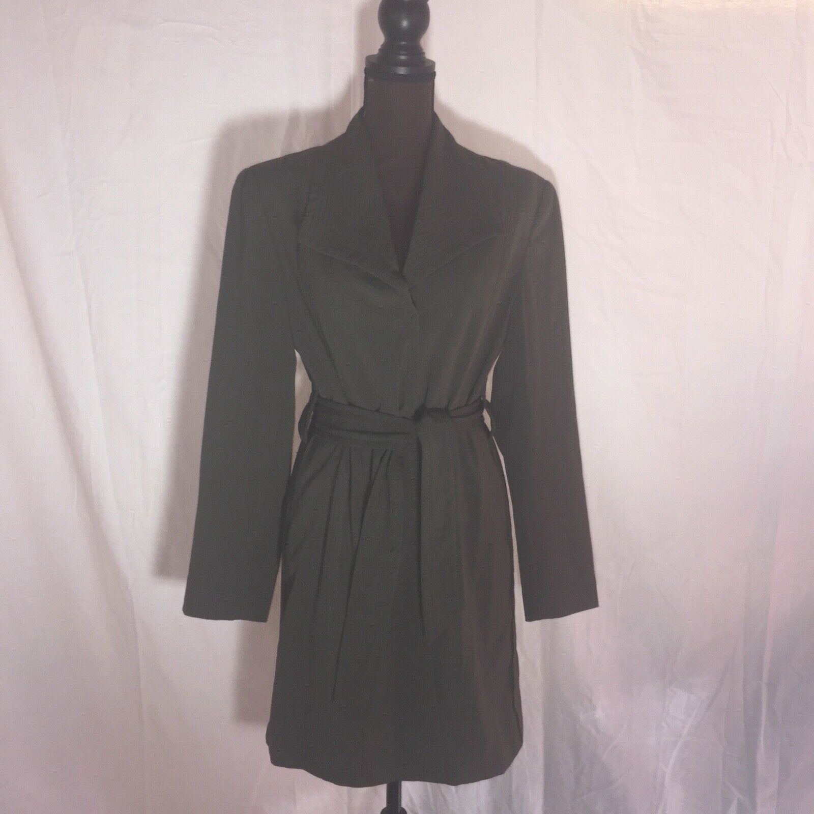 Size 10 Women's Larry Levine Olive Green Trench C… - image 2