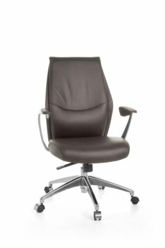 FineBuy Bürostuhl Echtleder Schreibtischstuhl ergonomisch Chefsessel Drehstuhl
