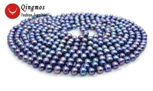 Round Black 6-7mm Natural Freshwater Pearl Necklace for Women Long Necklace 80/'/'