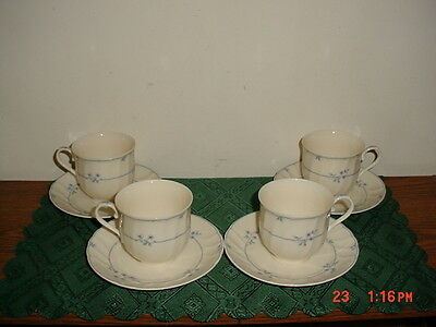 """8-PC MIKASA """"ALEXANDRIA"""" COFFEE CUPS & SAUCERS/L9778/STAMPED/BLUE-WHT/CLEARANCE!"""