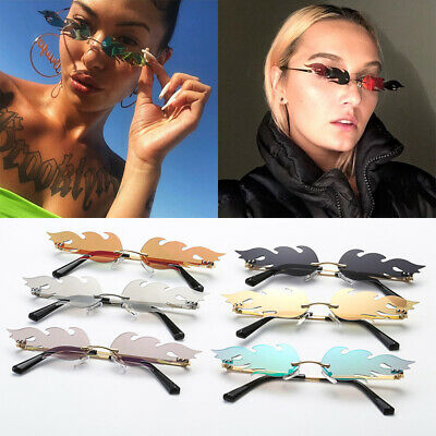 Trending Eyewear Fire Flame Wave Sun Glasses Rimless Fashion Sunglasses