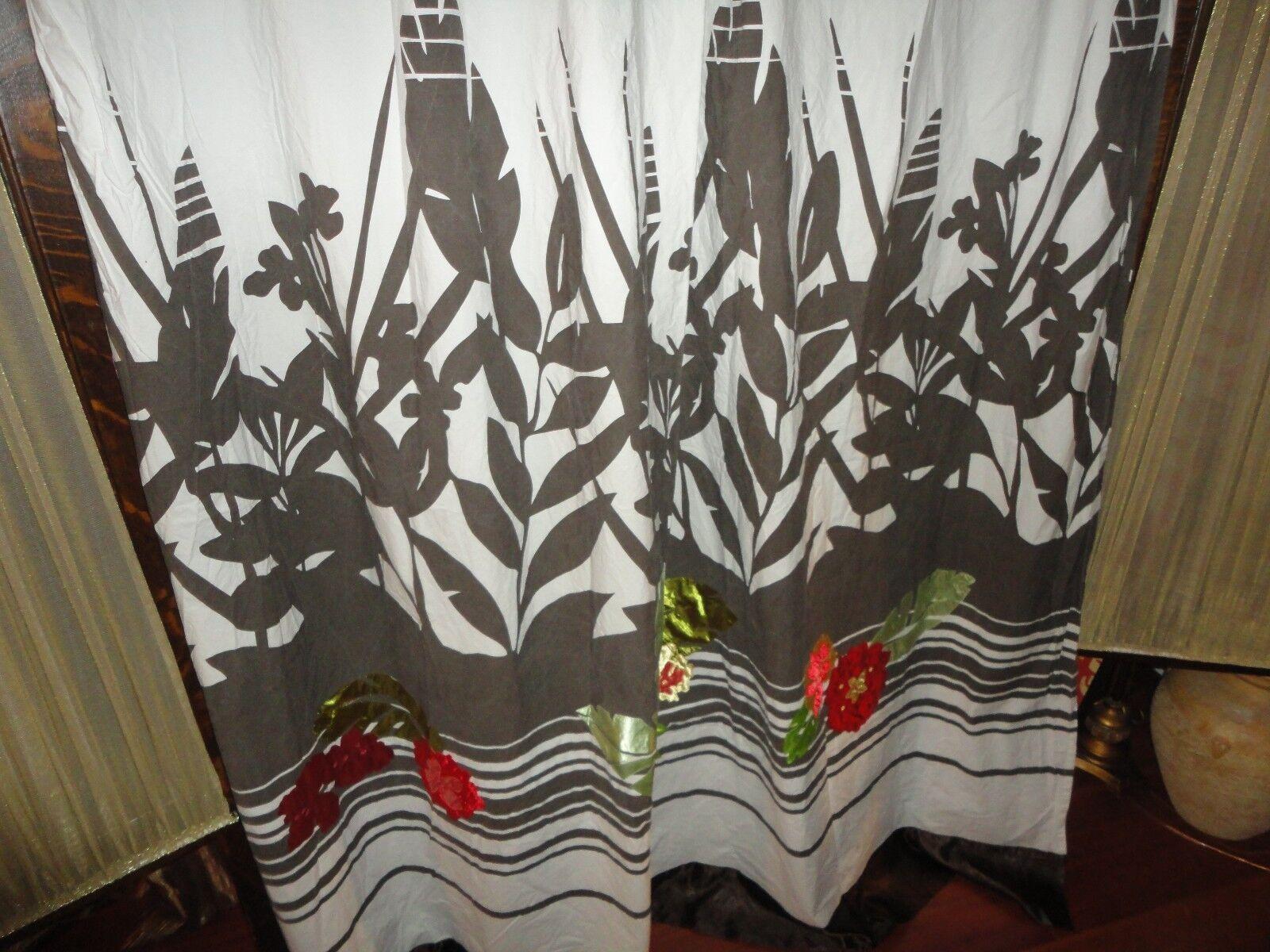 Kas Australia Braun Grün Rot Satin Fabric Shower Curtain 69x69