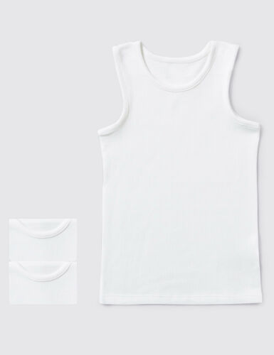 12 Pair Kids Children/'s Boys Vest 100/% Soft Cotton White Sleeveless Underwear