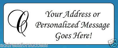 "60 Personalized Monogram Letter ""C"" Return Address Labels"