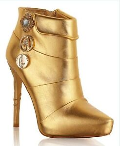Gold-Ankle-Boots-41-38-5-7-Anna-Dello-Russo-for-H-amp-M-BNIB-BNWT-New-in-Box-Tags