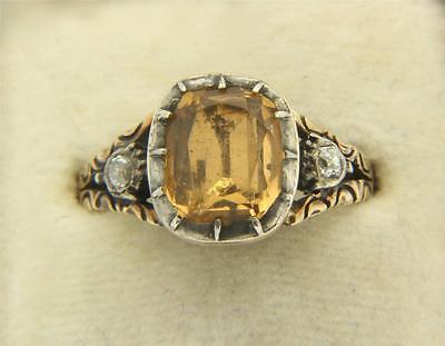 A Wonderful Georgian 3ct Golden Topaz & Rose Cut Diamond Ring Circa 1800's