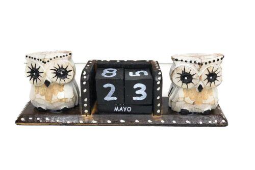 Calendario De Madera Buho Blanco White Wooden Owl Calendar Bali ZENDA IMPORTS