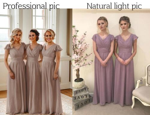 Baby Pink Cap Sleeve Chiffon Bridesmaid Wedding Dresses Long Short Ballgown Uk