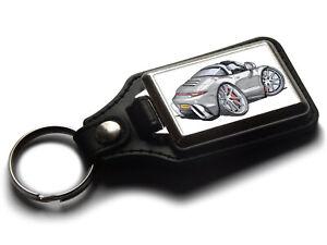 Koolart Cartoon Car Porsche 911 Targa Leather and Chrome Keyring
