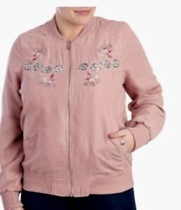 75080acb9ce58 ODYN Embroidered Bomber Jacket Plus Size Light Lined Front Zip LOGO ...