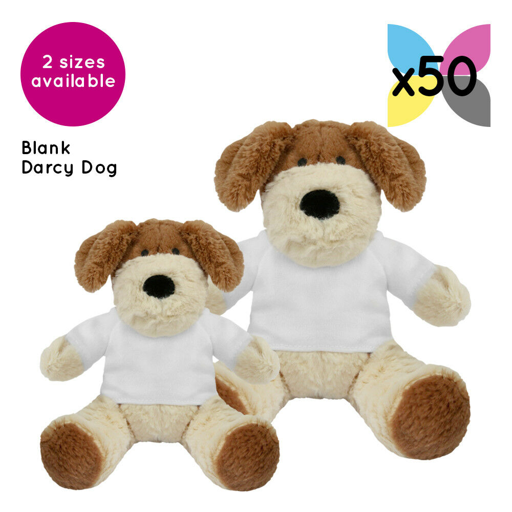 50 Blank Darcy Dogs Soft Toys Plain White T-Shirt for Transfer Sublimation Gifts