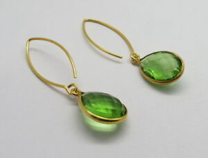 Details About Earring 22k Gold Earrings Green Quartz Gem Stone 50mm Long 1 Pair