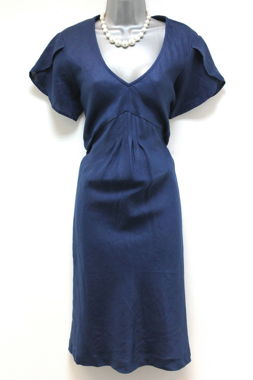 BNWT JoJo Maman Bebe Linen Navy Maternity Day Dress Size 14