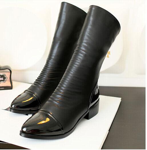 botas invierno cómodo elegantes cm mujer militares talón 4 cm elegantes como cuero negro 8834 9d494d