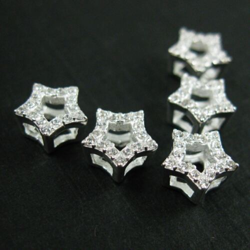1pc 925 Sterling Silver Star Charm-CZ Stone Star Link Connector Charm 6mm