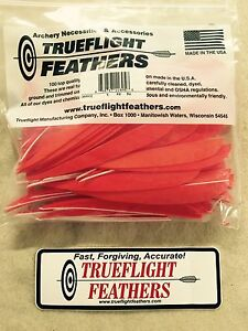 Trueflight 5 inch Feathers Right Wing Parabolic Cut 12 pack Red  Barred